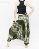 African Tribe Design Harem Pants Dashiki Tribal Print Unisex Low Crotch Baggy Yoga Trousers Green II back