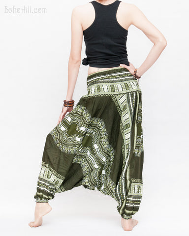 83a3e7860111c4 ... African Tribe Design Harem Pants Dashiki Tribal Print Unisex Low Crotch  Baggy Yoga Trousers Green II ...