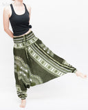 African Tribe Design Harem Pants Dashiki Tribal Print Unisex Low Crotch Baggy Yoga Trousers Green II dance