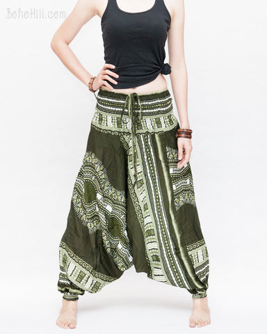 African Tribe Design Harem Pants Dashiki Tribal Print Unisex Low Crotch Baggy Yoga Trousers Green II front