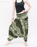 African Tribe Design Harem Pants Dashiki Tribal Print Unisex Low Crotch Baggy Yoga Trousers Green II side