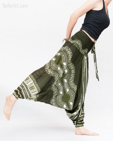 African Tribe Design Harem Pants Dashiki Tribal Print Unisex Low Crotch Baggy Yoga Trousers Green balance