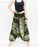 African Tribe Design Harem Pants Dashiki Tribal Print Unisex Low Crotch Baggy Yoga Trousers Green front