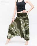African Tribe Design Harem Pants Dashiki Tribal Print Unisex Low Crotch Baggy Yoga Trousers Green left