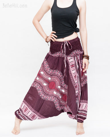 African Tribe Design Harem Pants Dashiki Tribal Print Unisex Low Crotch Baggy Yoga Trousers Maroon wide