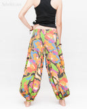 Aladdin Genie Baggy Pants Crinkle Cotton Summer flowers Festival Bloomers Trousers multi color back