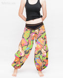 Aladdin Genie Baggy Pants Crinkle Cotton Summer flowers Festival Bloomers Trousers multi color front