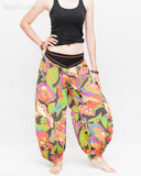 Aladdin Genie Baggy Pants Crinkle Cotton Summer flowers Festival Bloomers Trousers multi color side