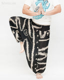 Baggy Harem Aladdin Unisex Pants Smocked Waist Ethnic Tribal Black Abstract Brush namaste