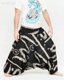 Baggy Harem Aladdin Unisex Pants Smocked Waist Ethnic Tribal Black Abstract Brush wide