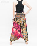Batik Paisley Harem Pants Unisex Genie Baggy Low Crotch Yoga Trousers Soft Light Rayon Colorful Indian Deep Pink back