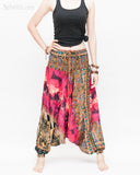 Batik Paisley Harem Pants Unisex Genie Baggy Low Crotch Yoga Trousers Soft Light Rayon Colorful Indian Deep Pink front