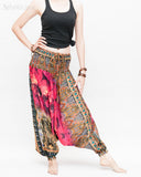Batik Paisley Harem Pants Unisex Genie Baggy Low Crotch Yoga Trousers Soft Light Rayon Colorful Indian Deep Pink relax
