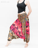 Batik Paisley Harem Pants Unisex Genie Baggy Low Crotch Yoga Trousers Soft Light Rayon Colorful Indian Deep Pink side