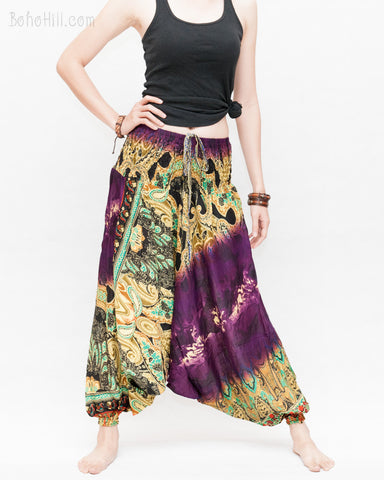 Batik Paisley Harem Pants Unisex Genie Baggy Low Crotch Yoga Trousers Soft Light Rayon Colorful Indian Purple relax