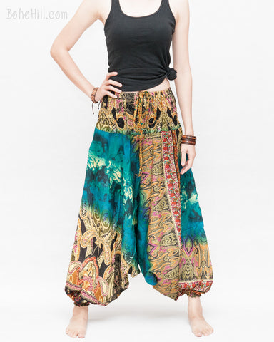 Batik Paisley Harem Pants Unisex Genie Baggy Low Crotch Yoga Trousers Soft Light Rayon Colorful Indian Turquoise front