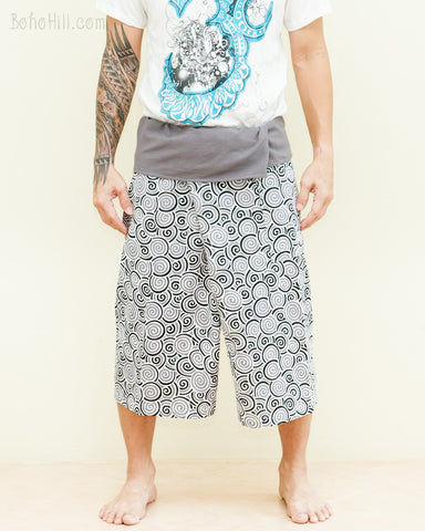 Capri Thai Fisherman Pants relaxed Yoga Shorts Around fold over waist comfy cotton summer tropical pajamas Gray White Japanese Spiral front