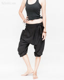 Carpenter Unisex Artistic Capri Drop Crotch Jedi Pants Cuff Leg Flexible Stretch Jersey Cotton Yoga Ninja Shorts Black women up relax
