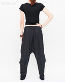 Casual Unisex Tapered Leg Bloomers Super Comfy Fun Playful Harem Pants Stretch Jersey Cotton Granite Black back