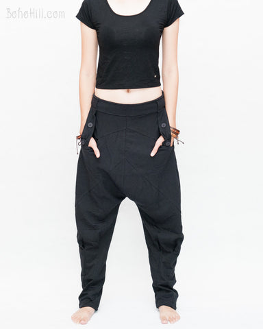 Casual Unisex Tapered Leg Bloomers Super Comfy Fun Playful Harem Pants Stretch Jersey Cotton Granite Black front