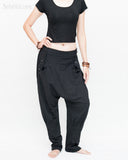 Casual Unisex Tapered Leg Bloomers Super Comfy Fun Playful Harem Pants Stretch Jersey Cotton Granite Black side
