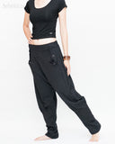 Casual Unisex Tapered Leg Bloomers Super Comfy Fun Playful Harem Pants Stretch Jersey Cotton Granite Black walk