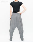 Casual Unisex Tapered Leg Bloomers Super Comfy Fun Playful Harem Pants Stretch Jersey Cotton Granite Gray back