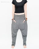 Casual Unisex Tapered Leg Bloomers Super Comfy Fun Playful Harem Pants Stretch Jersey Cotton Granite Gray front