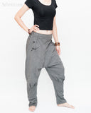 Casual Unisex Tapered Leg Bloomers Super Comfy Fun Playful Harem Pants Stretch Jersey Cotton Granite Gray side