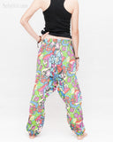 Colorful Cartoon Flowers Harem Aladdin Genie Pants Crinkle Cotton Cuff Leg Casual Trousers Blue back1