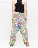 Colorful Cartoon Flowers Harem Aladdin Genie Pants Crinkle Cotton Cuff Leg Casual Trousers Blue back2