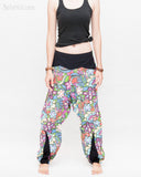 Colorful Cartoon Flowers Harem Aladdin Genie Pants Crinkle Cotton Cuff Leg Casual Trousers Blue front