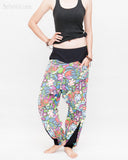 Colorful Cartoon Flowers Harem Aladdin Genie Pants Crinkle Cotton Cuff Leg Casual Trousers Blue relax
