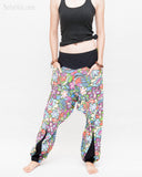 Colorful Cartoon Flowers Harem Aladdin Genie Pants Crinkle Cotton Cuff Leg Casual Trousers Blue side1