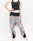 Colorful Cartoon Flowers Harem Aladdin Genie Pants Crinkle Cotton Cuff Leg Casual Trousers Blue side2