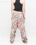 Colorful Cartoon Flowers Harem Aladdin Genie Pants Crinkle Cotton Cuff Leg Casual Trousers Pink back
