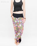 Colorful Cartoon Flowers Harem Aladdin Genie Pants Crinkle Cotton Cuff Leg Casual Trousers Pink cross