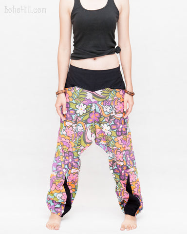 Colorful Cartoon Flowers Harem Aladdin Genie Pants Crinkle Cotton Cuff Leg Casual Trousers Pink front