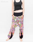Colorful Cartoon Flowers Harem Aladdin Genie Pants Crinkle Cotton Cuff Leg Casual Trousers Pink relax