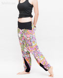 Colorful Cartoon Flowers Harem Aladdin Genie Pants Crinkle Cotton Cuff Leg Casual Trousers Pink side