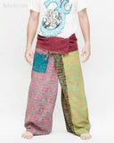 Colorful Hindu Om Yoga Stonewashed Rustic Nepali Cotton Vintage Fisherman Pants OMF-8 front