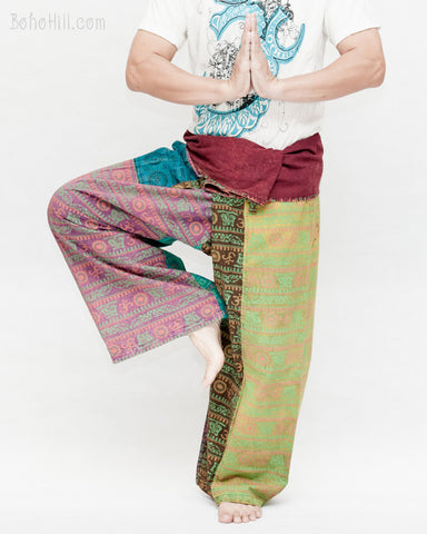 Colorful Hindu Om Yoga Stonewashed Rustic Nepali Cotton Vintage Fisherman Pants OMF-8 namaste