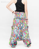 Cozy Super Baggy Harem Pants Convertible to Romper Jumpsuit Dress Flora Design Shirred Waist Cuff Leg Multicolor back