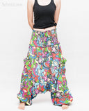 Cozy Super Baggy Harem Pants Convertible to Romper Jumpsuit Dress Flora Design Shirred Waist Cuff Leg Multicolor front