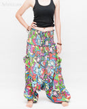 Cozy Super Baggy Harem Pants Convertible to Romper Jumpsuit Dress Flora Design Shirred Waist Cuff Leg Multicolor side