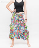 Cozy Super Baggy Harem Pants Convertible to Romper Jumpsuit Dress Flora Design Shirred Waist Cuff Leg Multicolor skirt