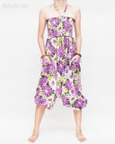 Cozy Super Baggy Harem Pants Convertible to Romper Jumpsuit Dress Flora Design Shirred Waist Cuff Leg Purple pulled front
