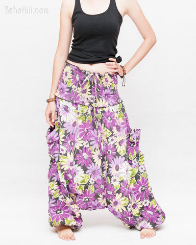 Cozy Super Baggy Harem Pants Convertible to Romper Jumpsuit Dress Flora Design Shirred Waist Cuff Leg Purple relax