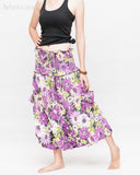 Cozy Super Baggy Harem Pants Convertible to Romper Jumpsuit Dress Flora Design Shirred Waist Cuff Leg Purple walk