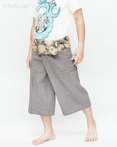 Cropped Length Thai Fisherman Pants Plain Gray Wrap Around Lotus Mushroom Spore Fold Over Waist Active Tribal Summer Trousers walk